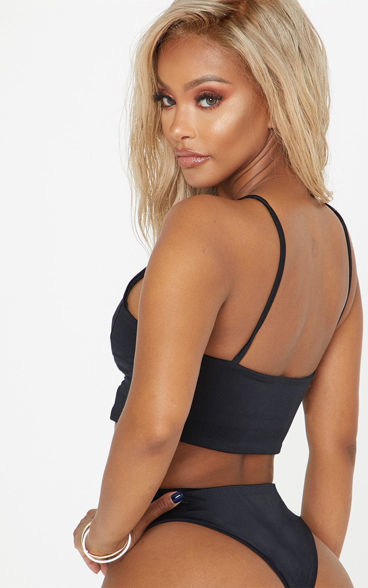 Shape Black Racer Neck Bikini Top 2