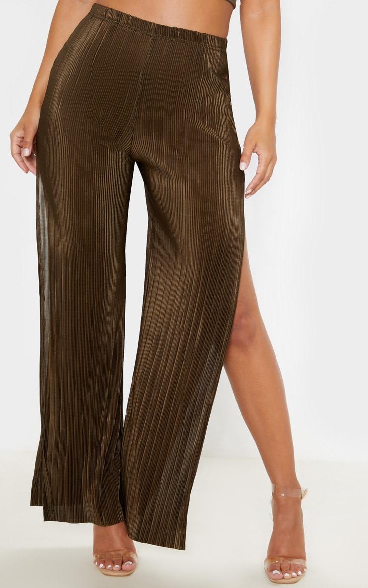 Petite Olive Khaki Pleated Split Wide Leg Trouser 2