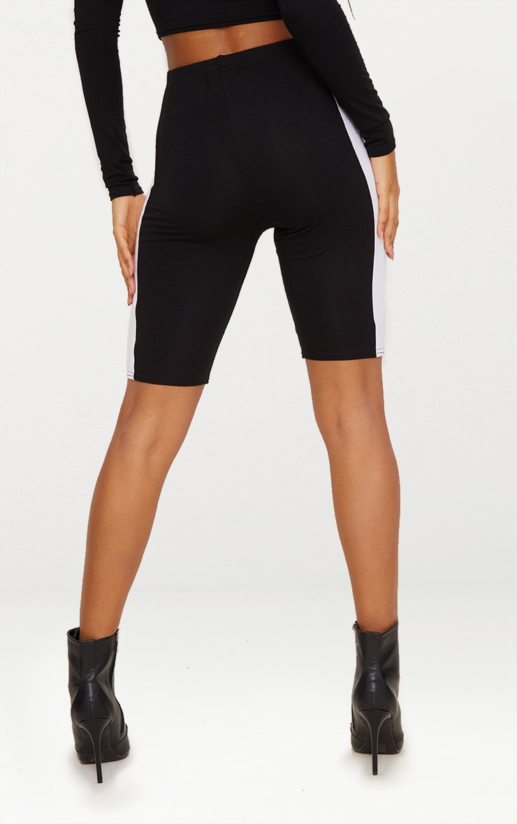 Black Contrast Panel Cycle Shorts 4
