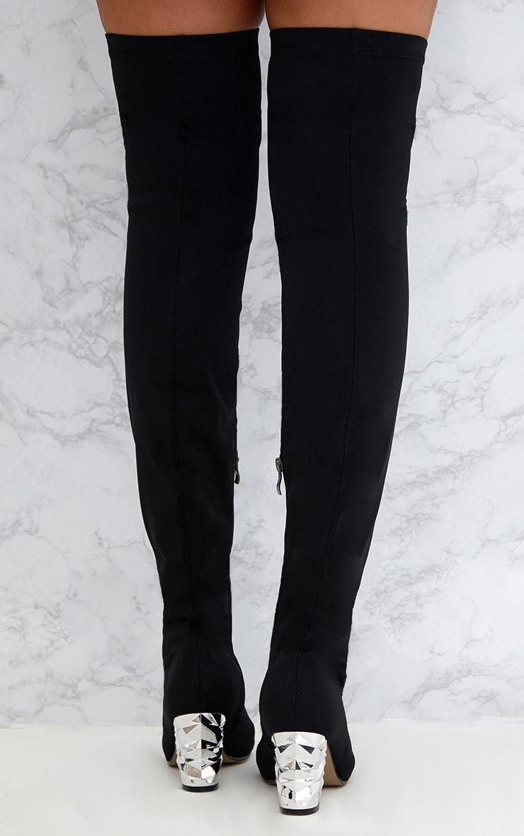 Black Metallic Heel Lycra  Thigh High Boots 4