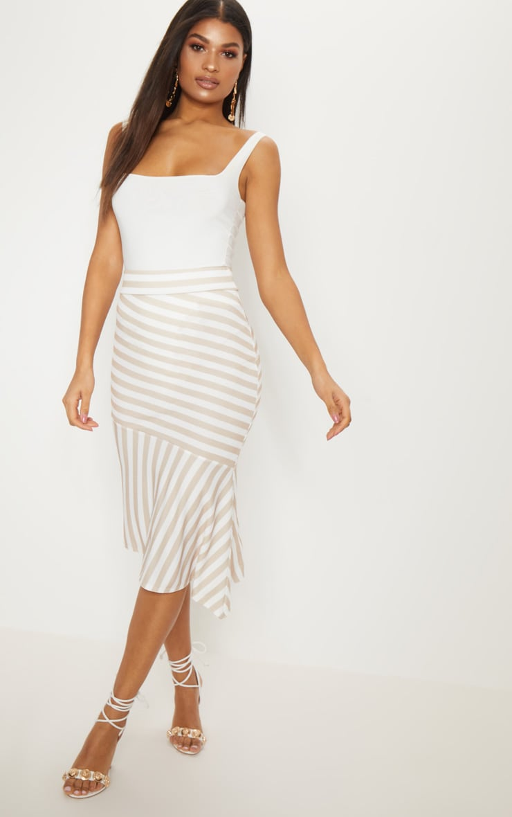 Stone Crepe Asymetric Stripe Skirt 1
