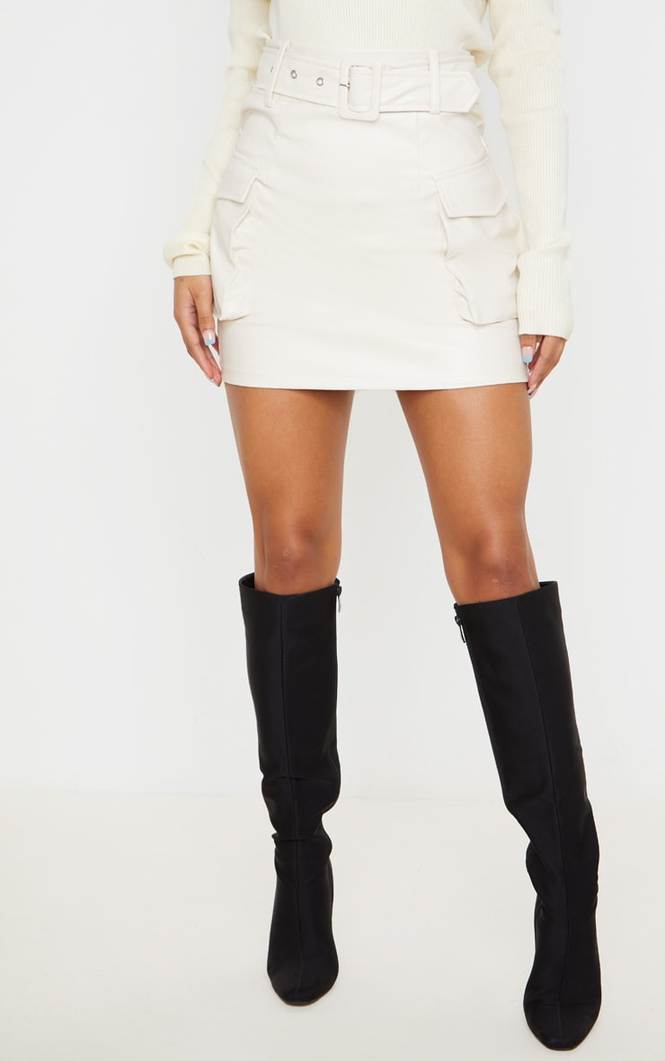 Cream Faux Leather Belted Cargo Pocket Mini Skirt 2