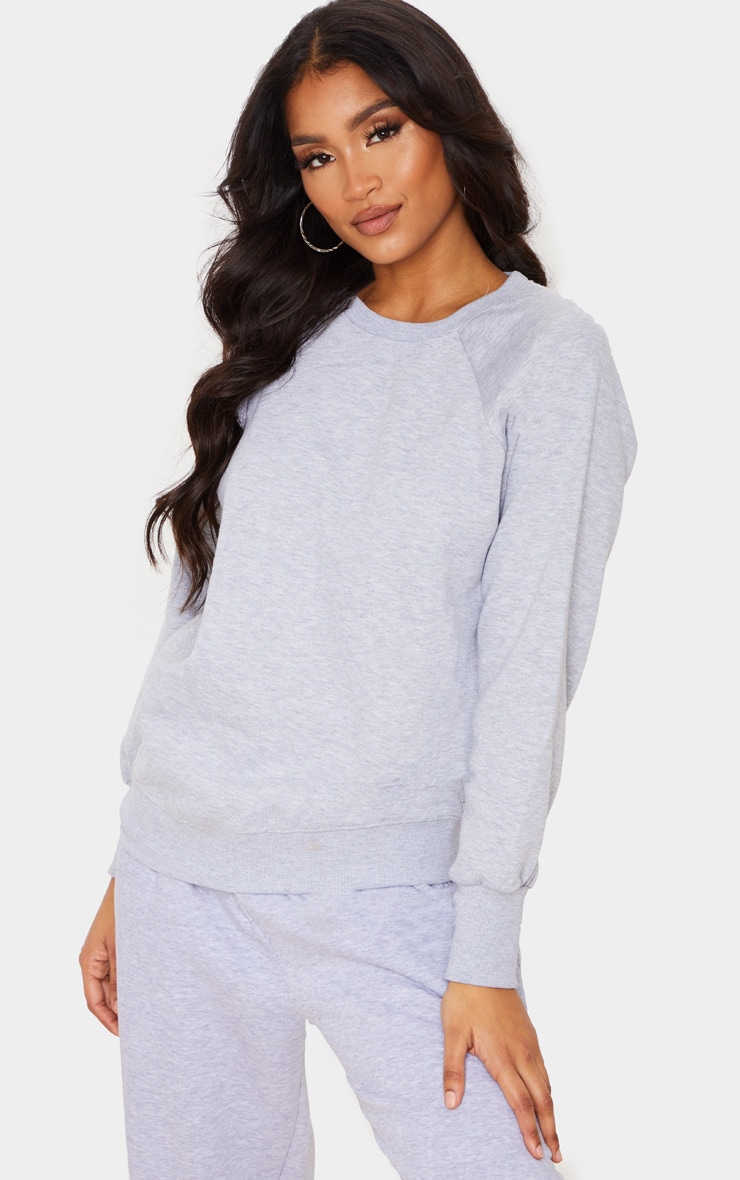 Basic Ash Grey Crew Neck Sweater 1