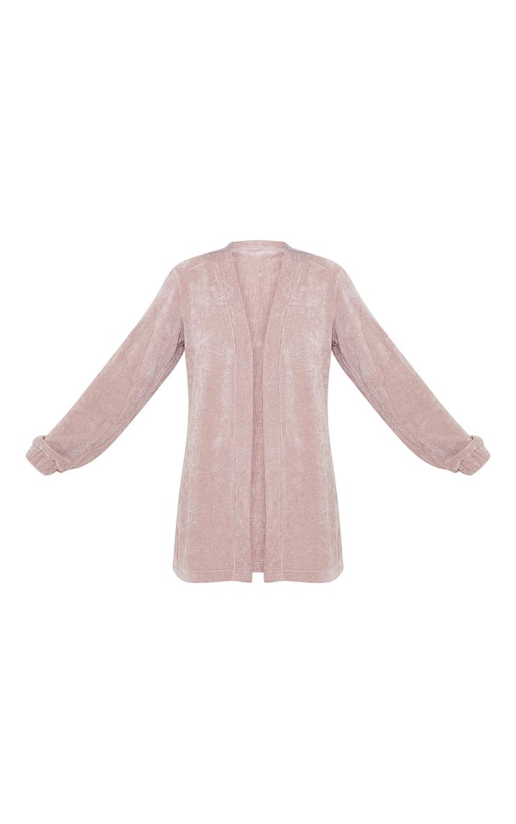 Taupe Rib Velour Longline Jacket 5