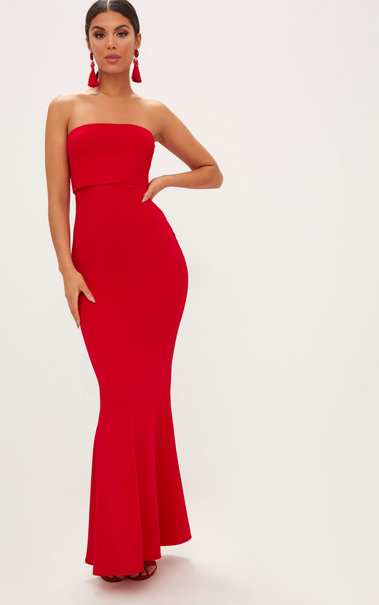 Red Bandeau Frill Hem Maxi Dress 1