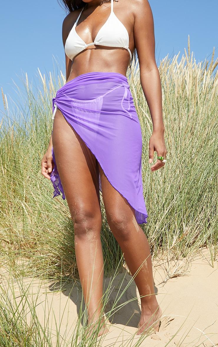 Purple Mesh Asymmetric Tie Side Beach Sarong 2