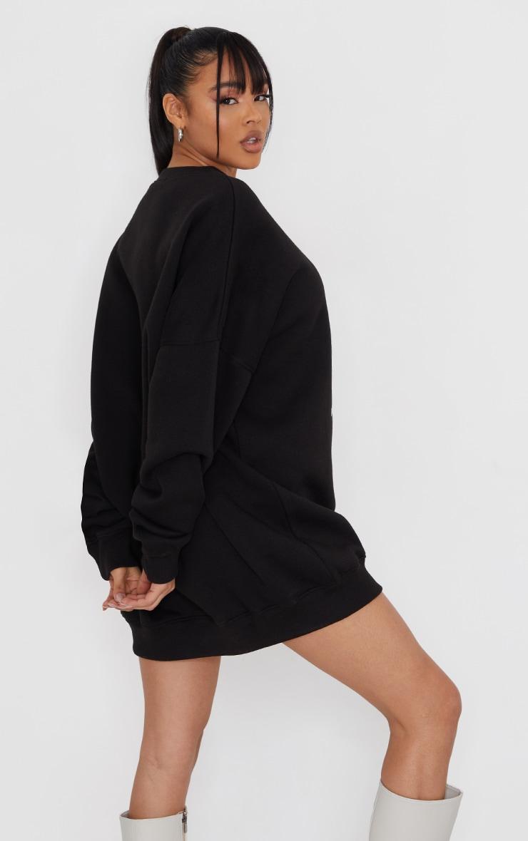 PRETTYLITTLETHING Black Oversized Sweater Jumper Dress 2