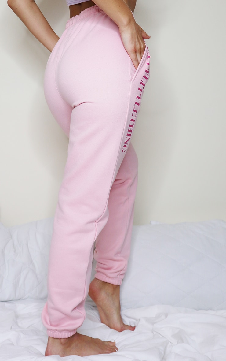 PRETTYLITTLETHING Baby Pink Slogan Joggers 3