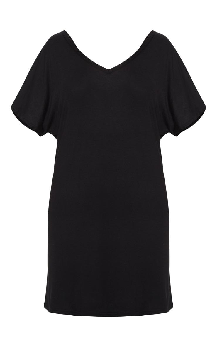 Basic Black V Neck T Shirt Dress 4