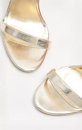 Gold Metallic Heeled Strappy Sandal 4