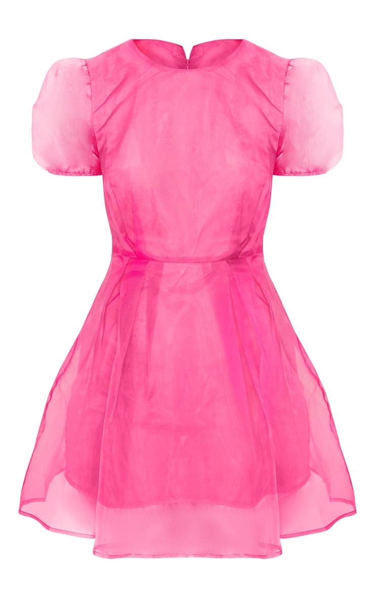 Hot Pink Organza Puff Sleeve Skater Dress 3