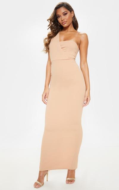 7b2e47ef4454 Nude One Shoulder Maxi Dress