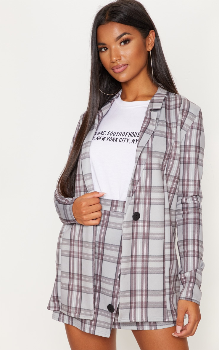 Grey Checked Boyfriend Blazer  4