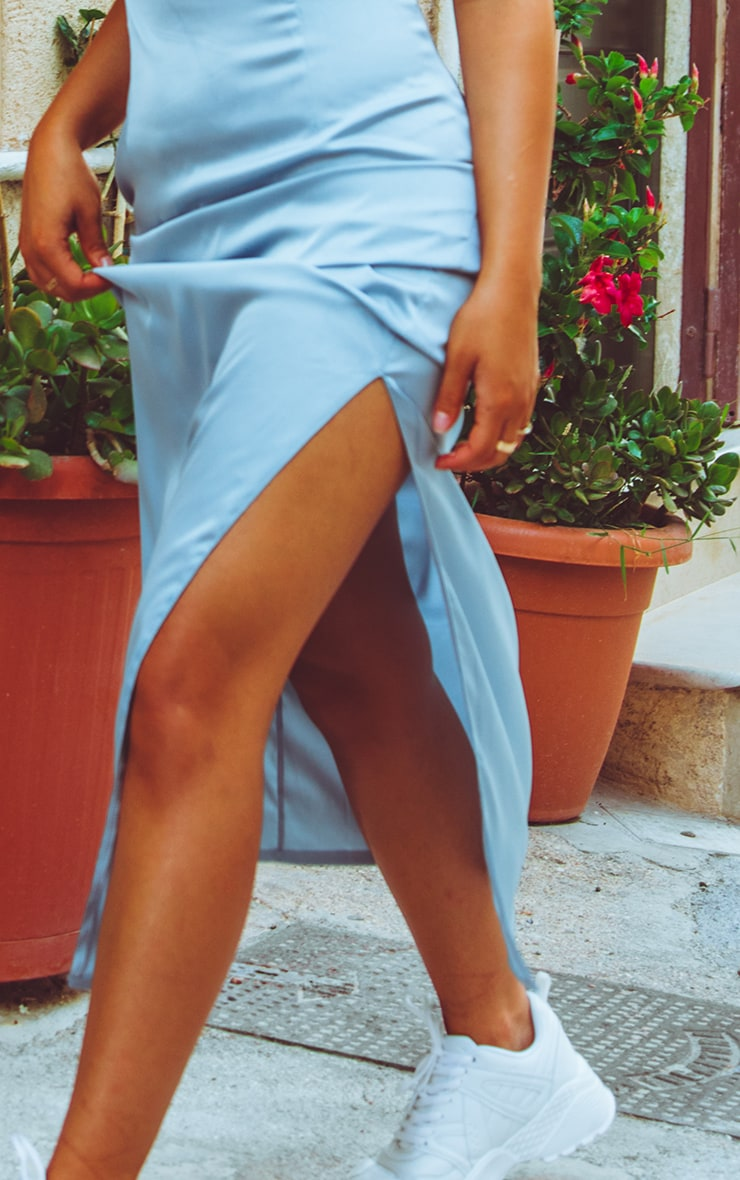 Baby Blue Satin Fitted Maxi Dress 5