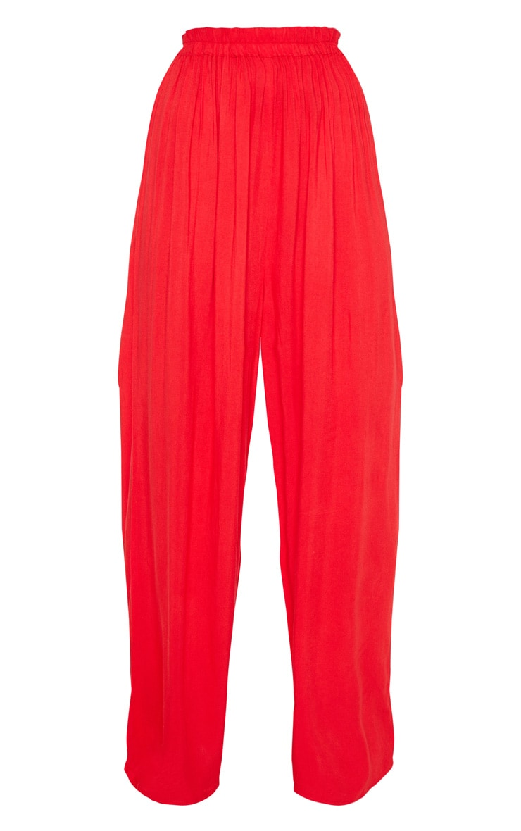 Red Wide Leg Woven Pants 3