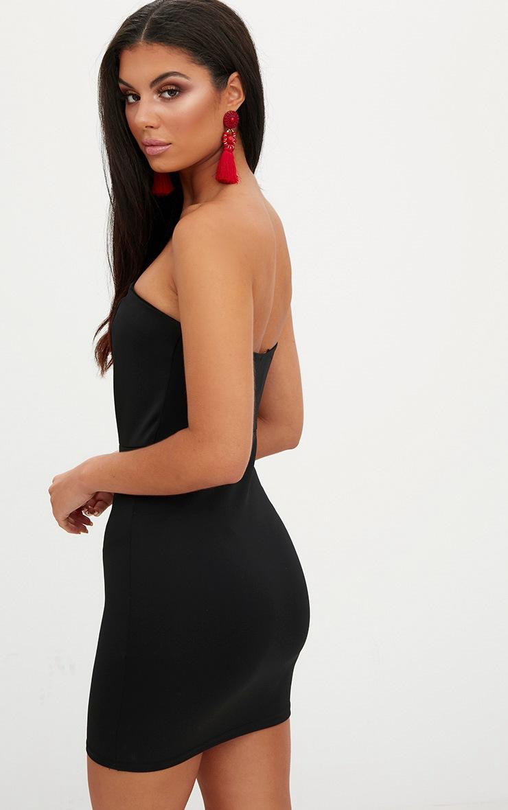 Black V Plunge Bandeau Bodycon Dress 2