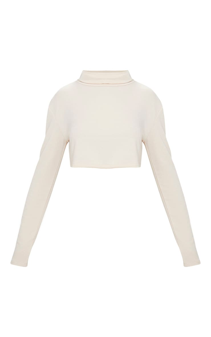 Cream Roll Neck Long Sleeve Sweater  3