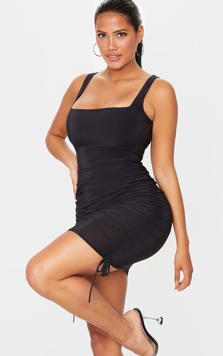 Shape Black Slinky Ruche Side Bodycon Dress 1