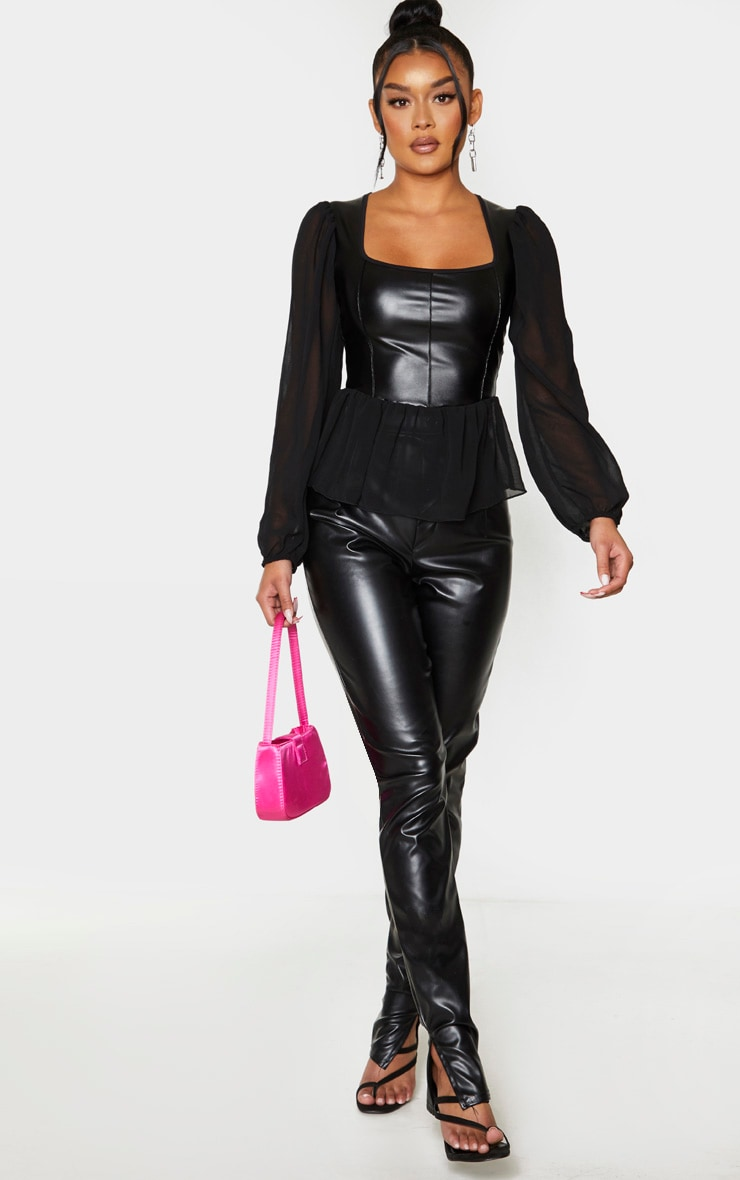 Black PU Chiffon Puff Sleeve Blouse 3