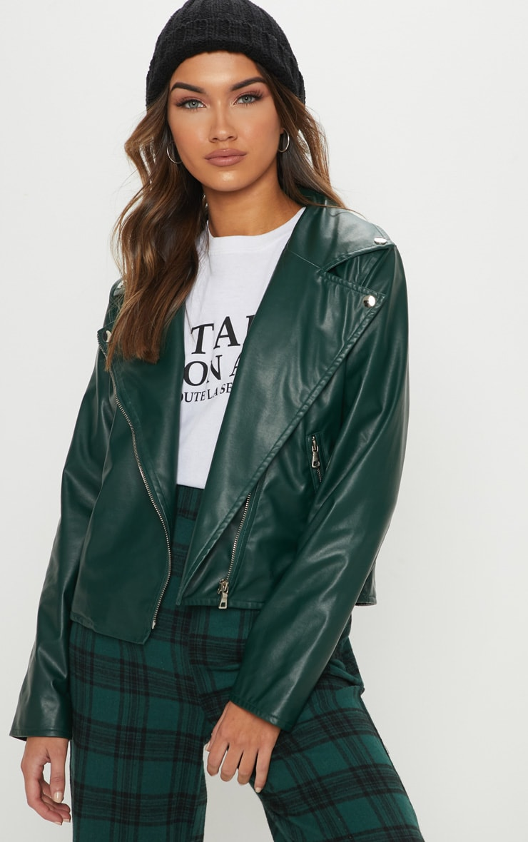 Emerald Green PU Biker Jacket 1