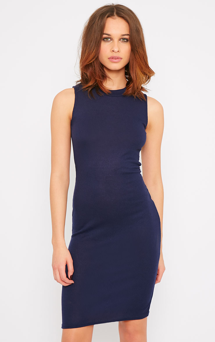 Bella Navy Ribbed Sleeveless Dress 3