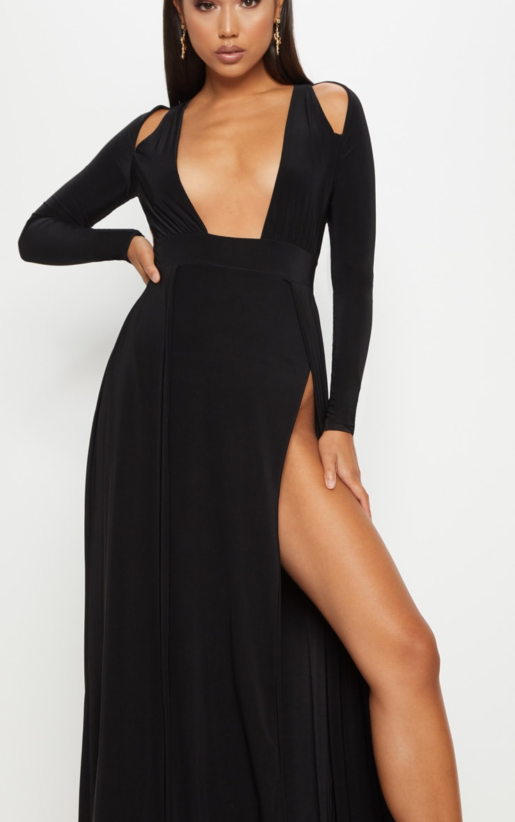 Black Plunge Extreme Split Leg Maxi Dress 5