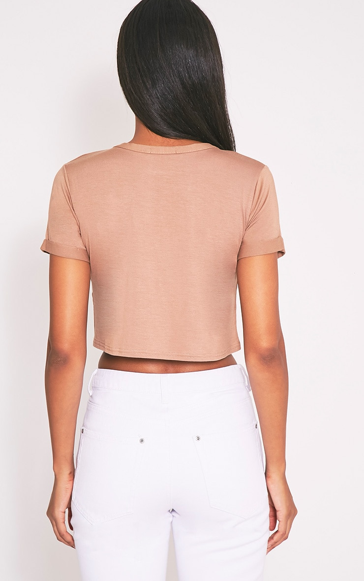 Basic Camel Roll Sleeve Crop T Shirt 2