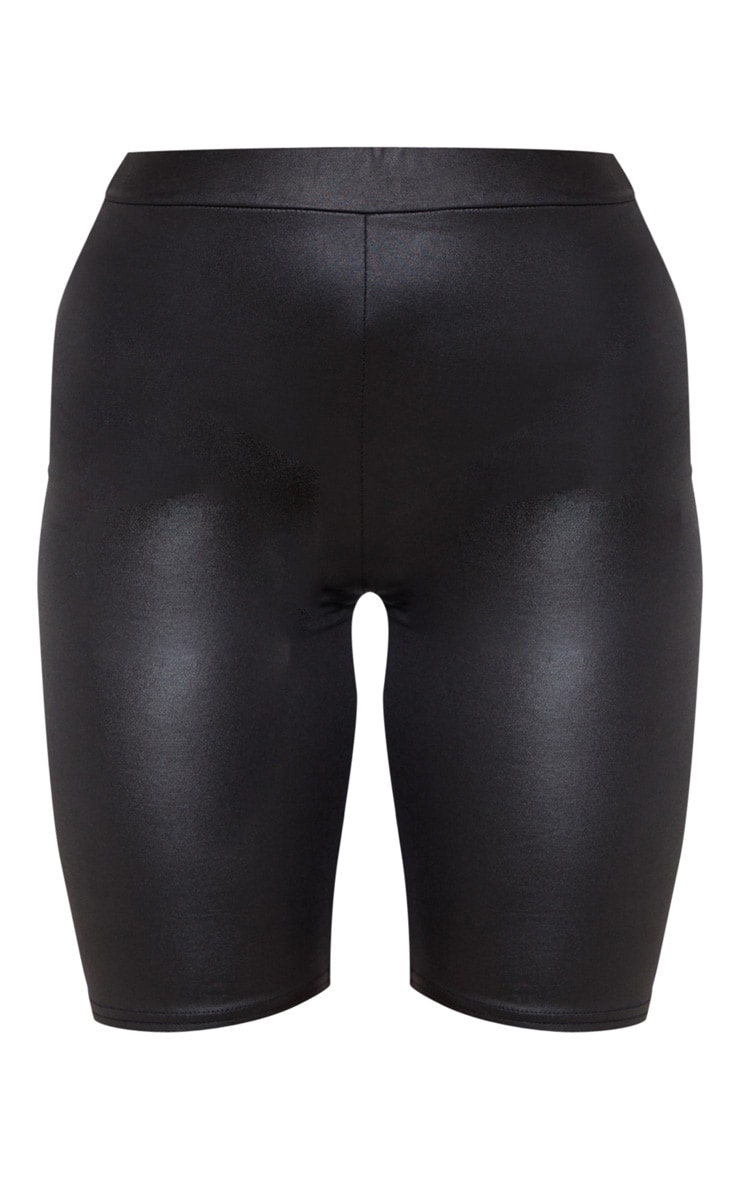 Black Wet Look Ruched Bum Cycle Short  3
