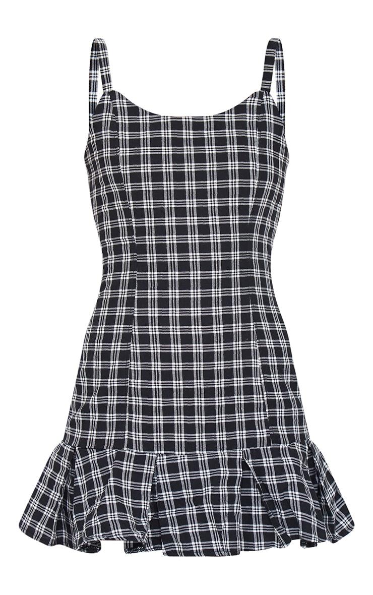 Black Checked Frill Hem Shift Dress 5