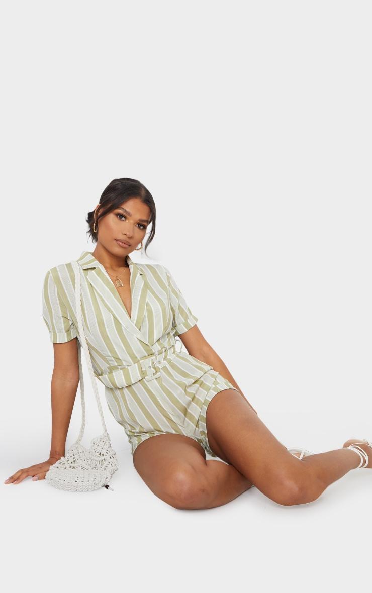 Sage Green Stripe Belted Short Sleeve Blazer Playsuit 3