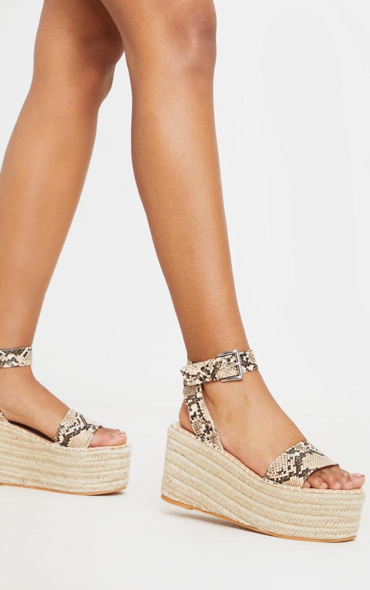 Snake Print Buckle Ankle Strap Flatform Espadrille Sandal 1