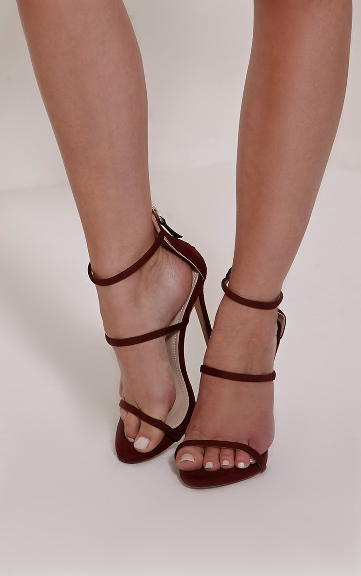 Asara Burgundy Faux Suede Heeled Sandals 1