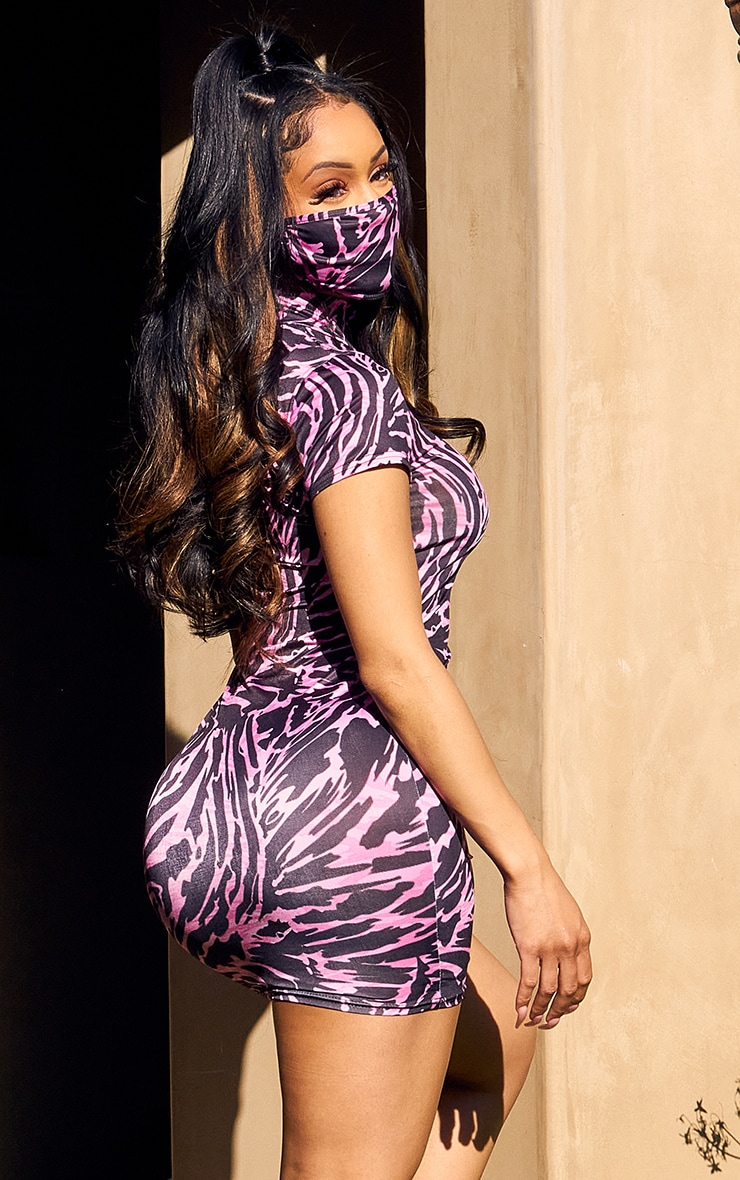 Pink Abstract Print High Neck Bodycon Dress 2