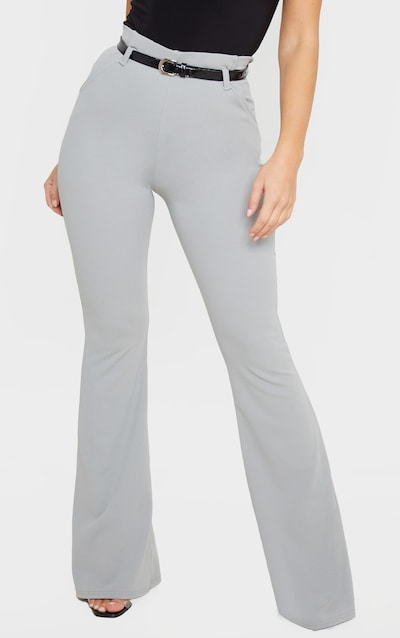 Grey Flared Belted Trouser