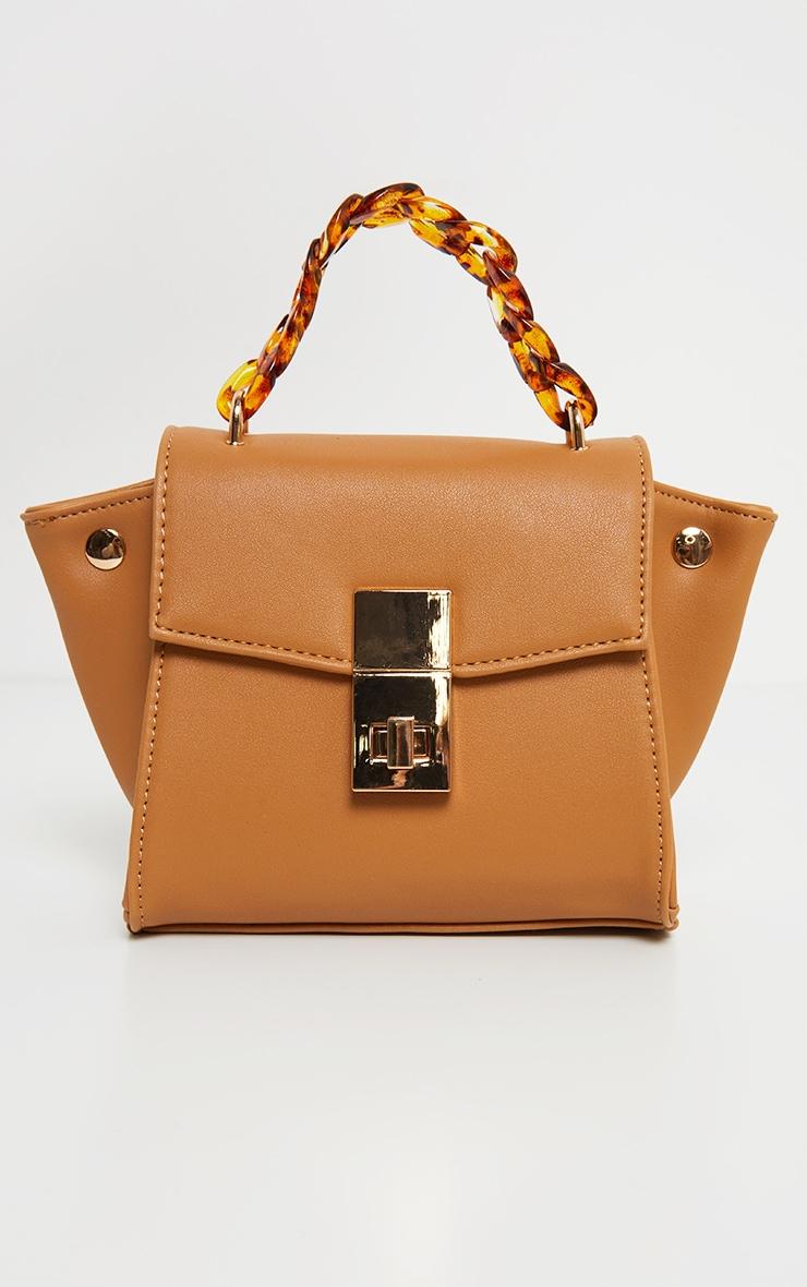 Tan  Square Mini Bag Tortoiseshell Chain Handle 2