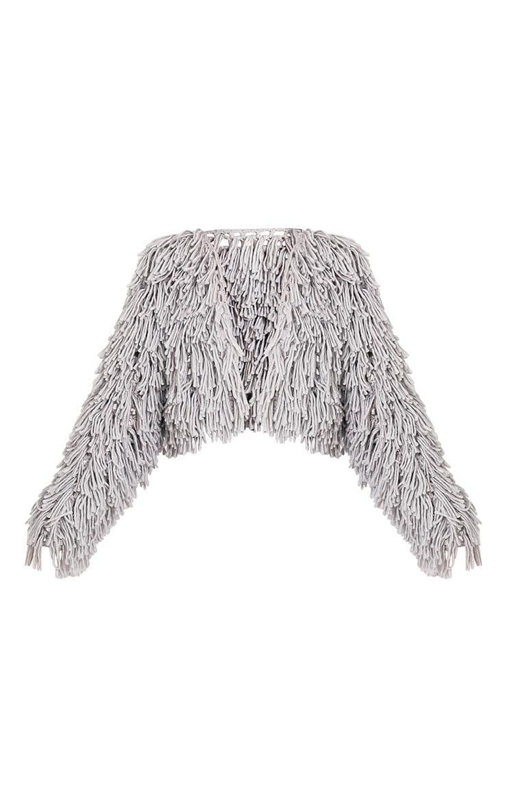 Shainina Grey Shaggy Knit Cropped Cardigan 3