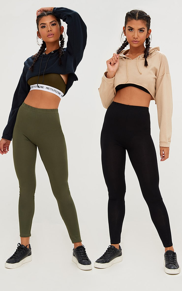 Basic Black and Khaki Jersey Leggings 2 Pack 1