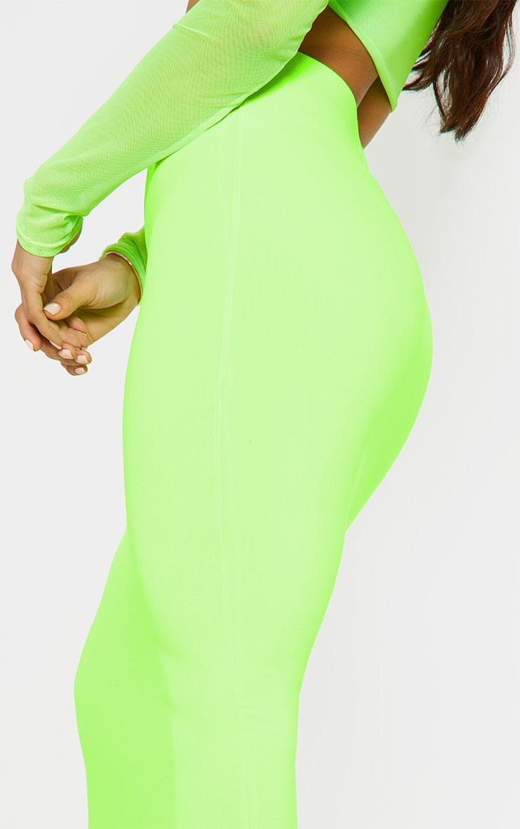 Neon Lime Slinky Midaxi Skirt 5