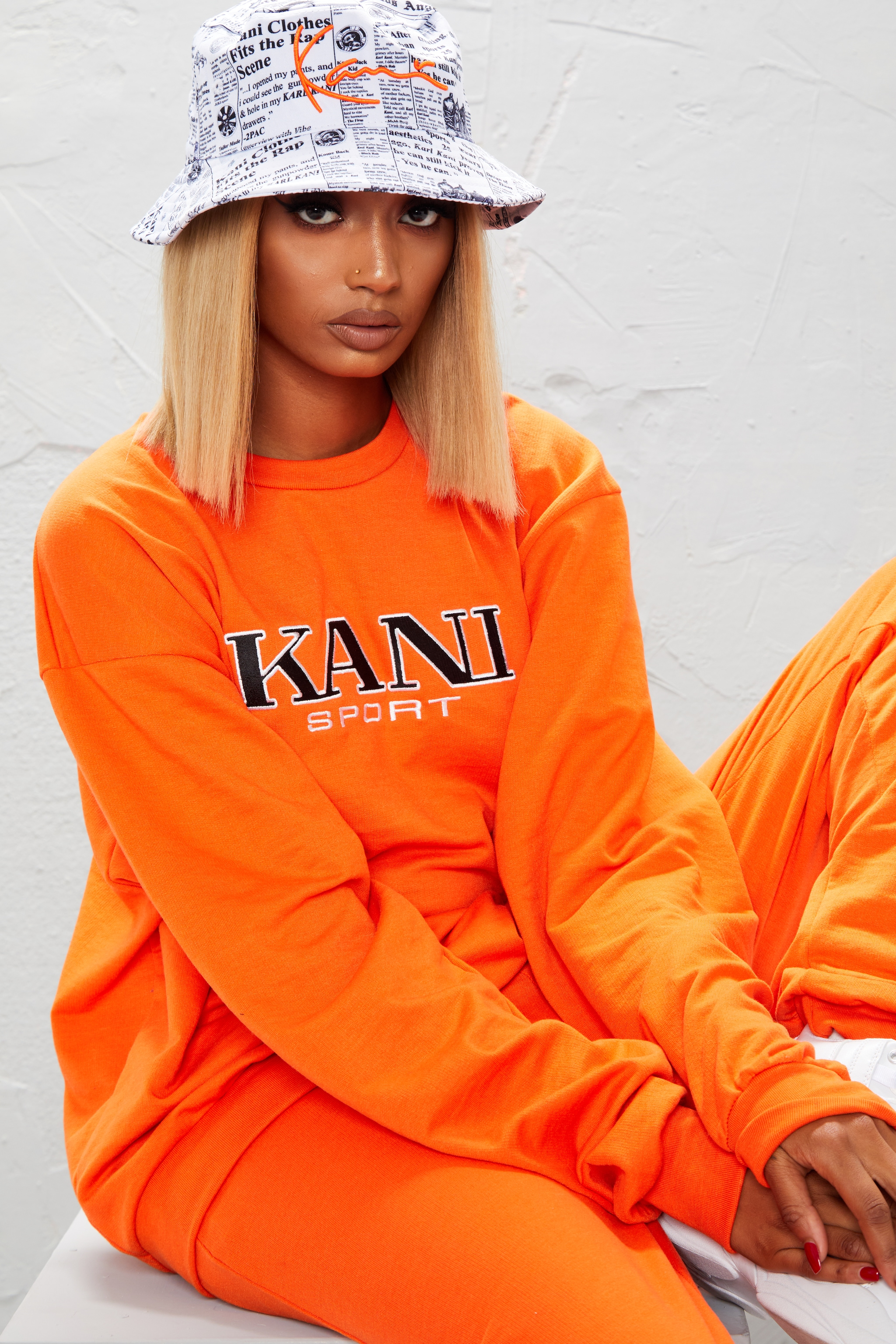 KARL KANI Orange Embroidered Oversized Sweatshirt 5