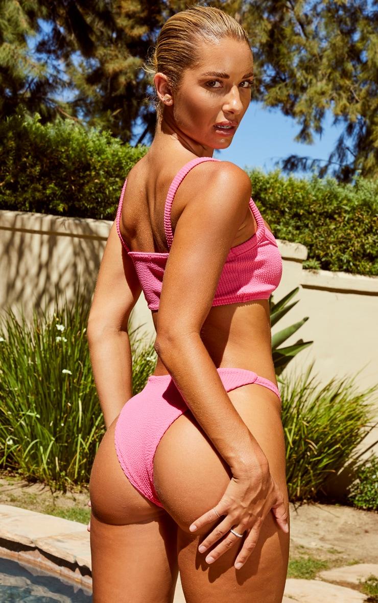Pink Thick Strap Crinkle Scoop Bikini Top 2