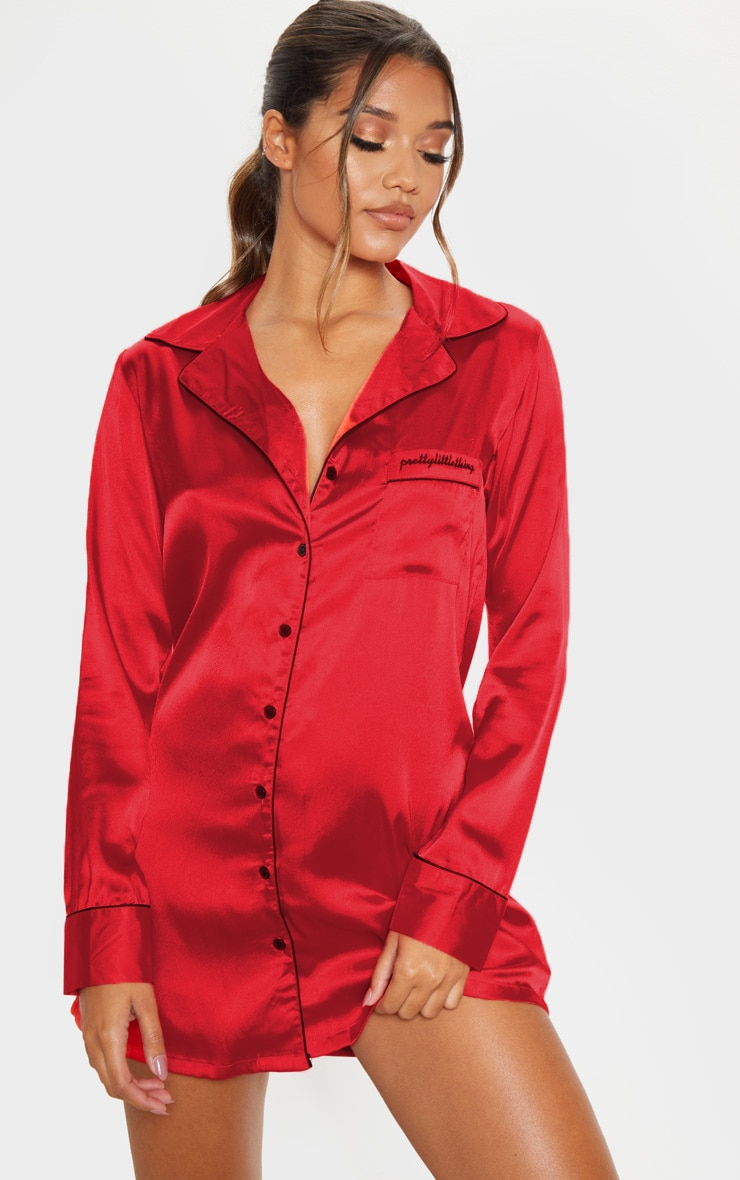 PRETTYLITTLETHING Red Satin Nightshirt 4