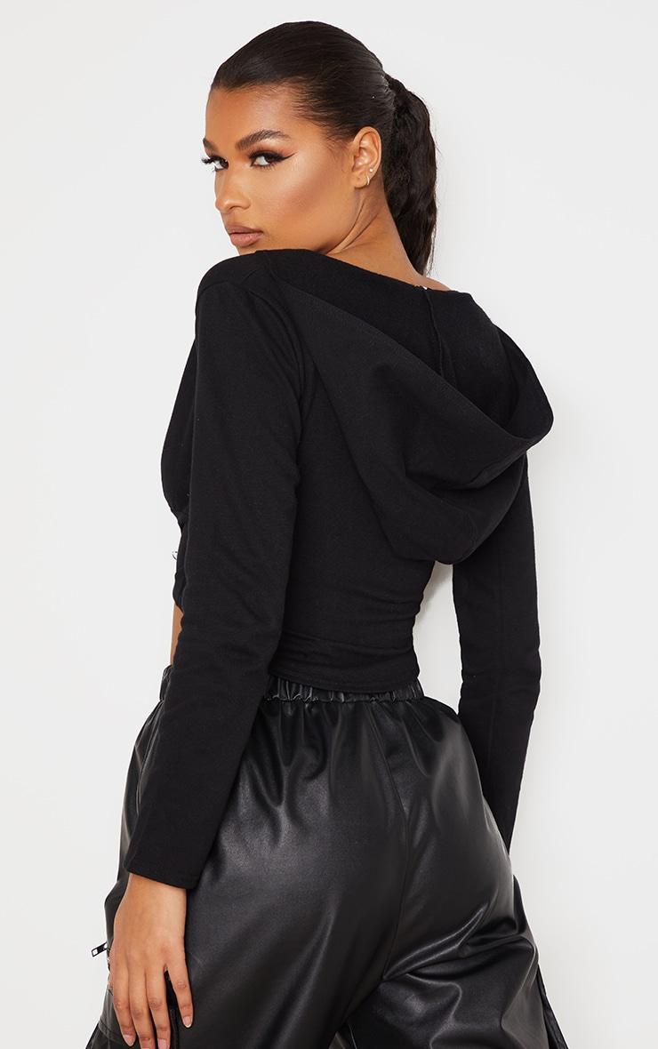 Black Hook And Eye Corset Detail Hoodie 2