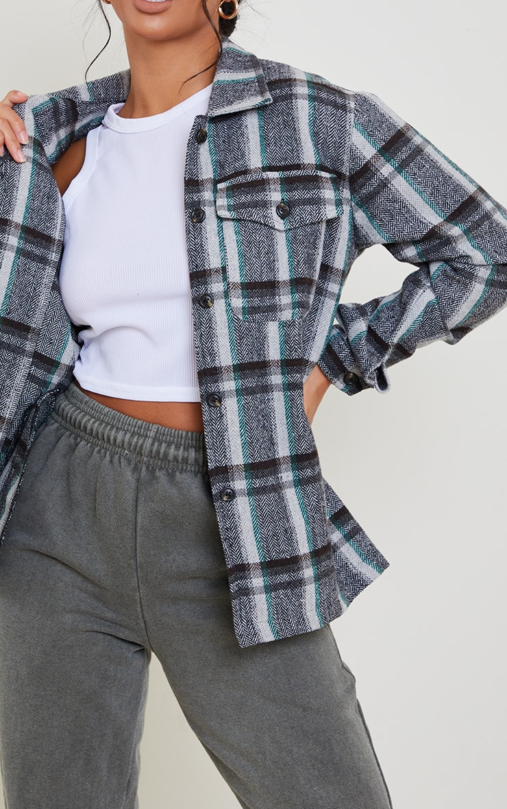 Petite Grey Tooth Checked Shacket 4
