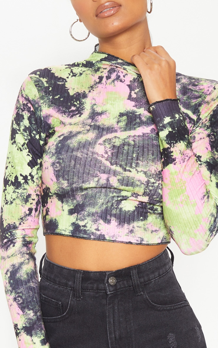 Multi Tie Dye Printed Rib High Neck Crop Top 5