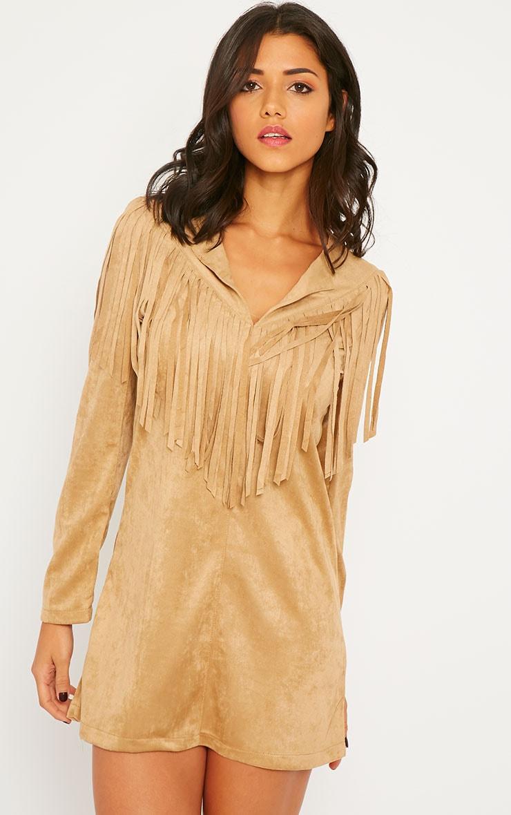 Elvin Camel Suede Fringe Mini Dress 4