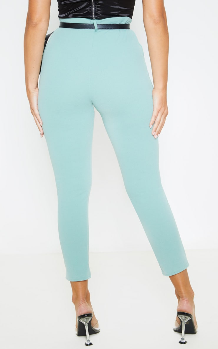 Dusty Turquoise Belted Cropped Pants 4