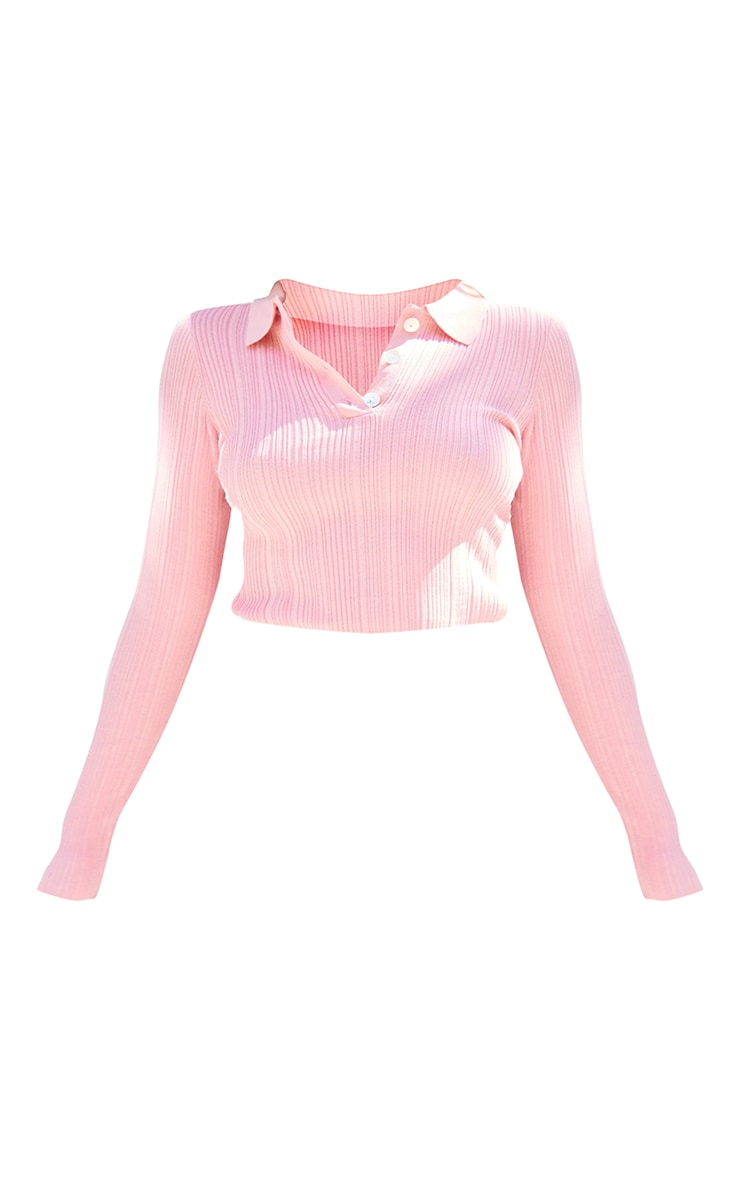 Petite Pink Sheer Knit Button Up Collared Top 5