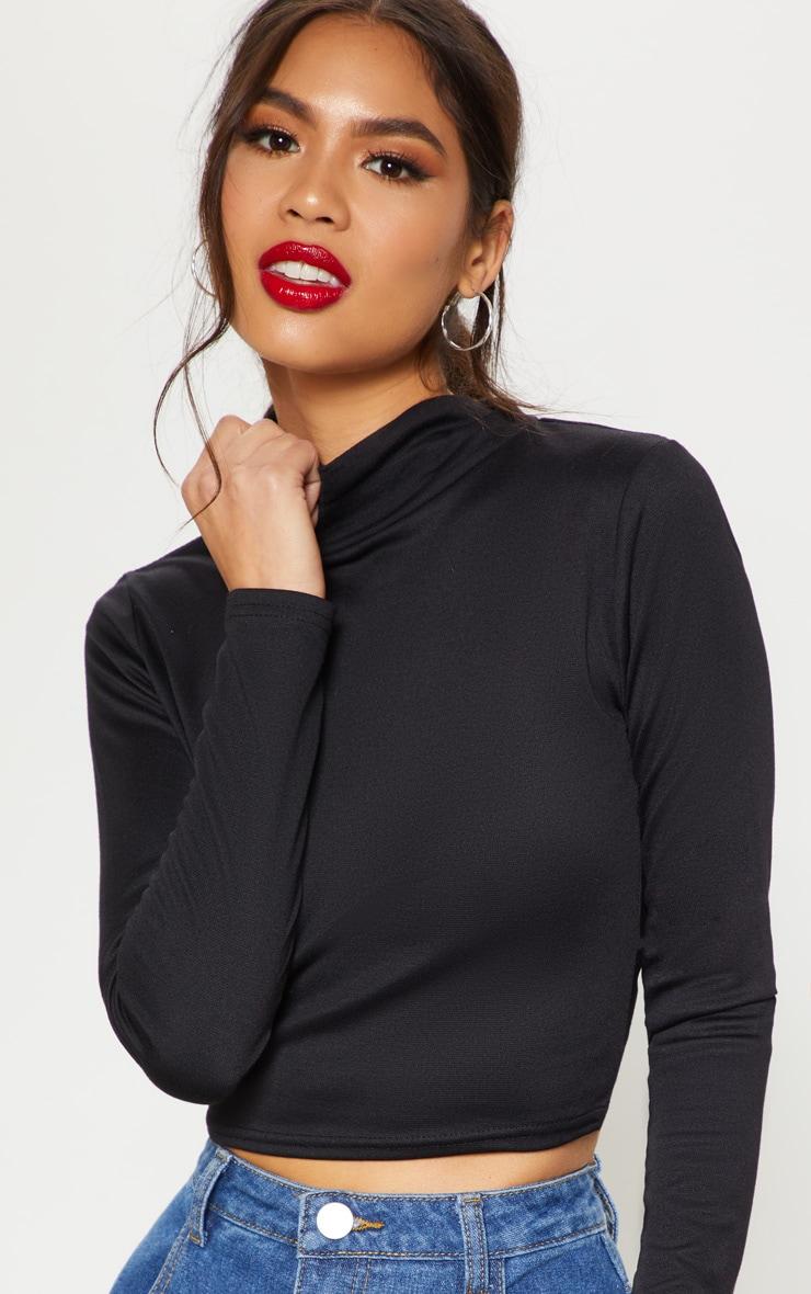 Black Long Sleeve High Neck Crop Top 5