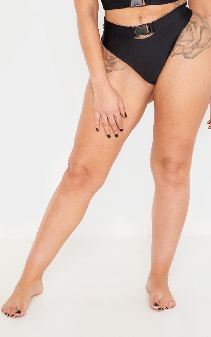 Shape Black Buckle Waist Bikini Bottom 2
