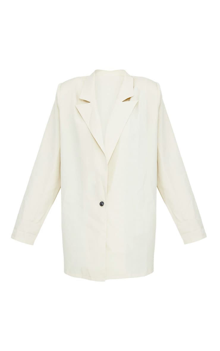 Stone Oversized Light Weight Button Detail Blazer 3